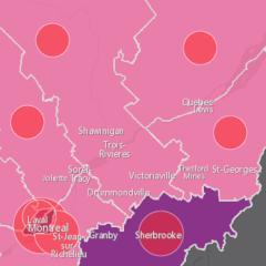 Carte De La Covid 19 Au Quebec Voyez Les Disparites Regionales Dans Le Nombre De Cas Par 100 000 Habitants Psychomedia